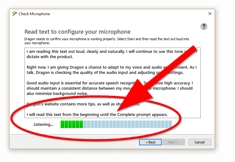 "Screenshot of ""Read text to configure your microphone"" window. The voice software is listening and adjusting sound settings."