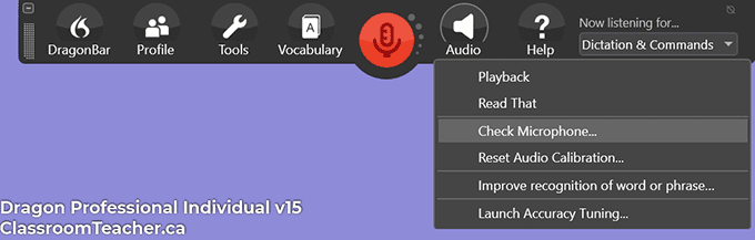 Screenshot of Nuance Dragon Professional Individual v15 - audio menu (Screenshot for Nuance Dragon Home vs Professional 15 review)