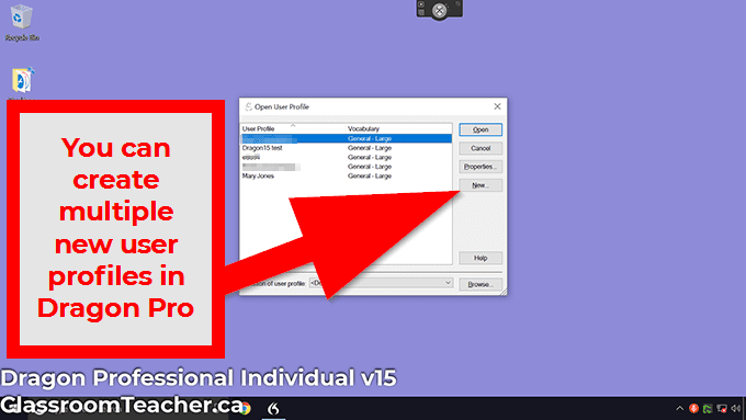 Use Dragon and speak naturally tip: You CAN add multiple new user profiles in the Dragon Professional V15