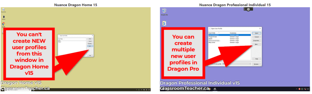Side by side comparison of Nuance Dragon Home 15 vs Nuance Dragon Professional 15 showing multiple user profile option in the start window