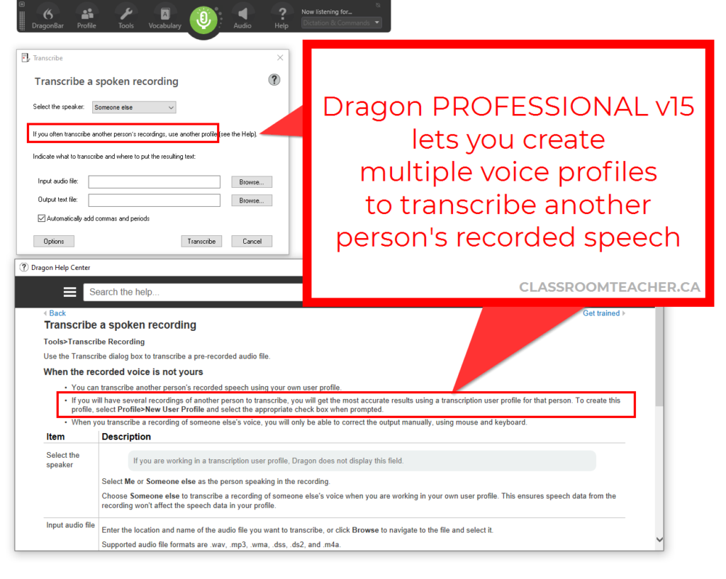 Screenshot of Dragon Professional v15 transcribe box saying that if you often transcribe another person's recordings, use another profile